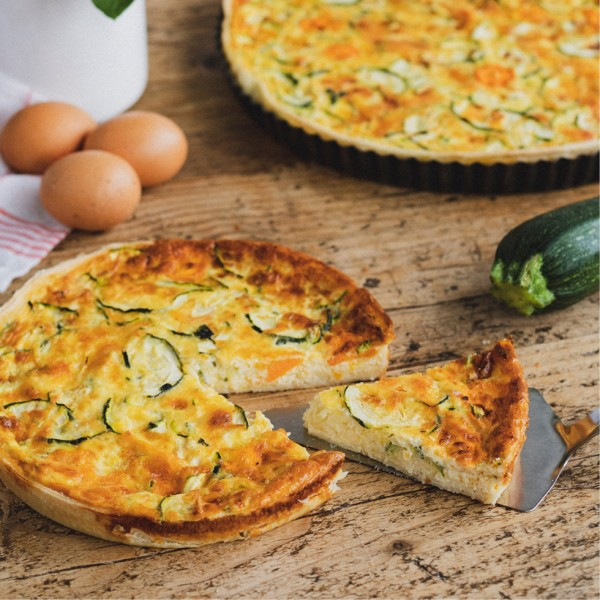 Courgettes, carrot, yogurt and basil Quiche